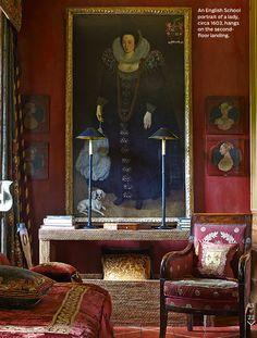 Anouska Hempel ~ 1603 painting of woman on second floor landing of her London home