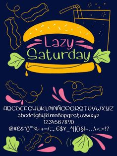 Lazy Saturday is a fun handwritten font easy to use in any kind of graphic projects. You can also use it as a note taking font in your digital planners. It comes in .ttf and .otf formats. The product comes in a .zip file so you'll have to unzip it. If you have any doubt about this font please get in contact and I'll try to help :-) Natalia González Sans Serif Fonts, Handwritten Fonts, Typography Fonts, Typography Design, Lettering, Lazy Saturday, Graphic Projects, Cool Fonts, Things To Come