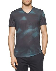 Calvin Klein Short Sleeve Camo Cloud Tee Men's Grey X-Large