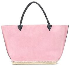 7c75cd077391 Altuzarra Small Espadrille suede tote Shopping Totes, Leather Handle,  Pastel Pink, Jute,