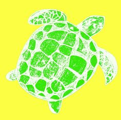 Loggerhead sea turtle yellow and green fabric by lisakling on Spoonflower - custom fabric