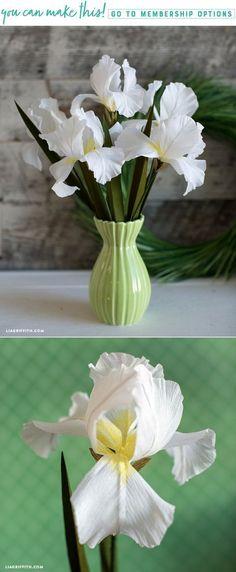 DIY Crepe Paper Iris Flowers - www.LiaGriffith.com #PaperFlowers #PaperFlower #DIYPaperFlower #PaperFlowerTutorial #PaperFlowerPattern #CrepePaperRevival #CrepePaperFlower