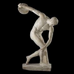 Marble statue of discus thrower (diskobolos). Roman period, second century AD, after a lost Greek original of about 450–440 BC, from the villa of the emperor Hadrian at Tivoli, Italy