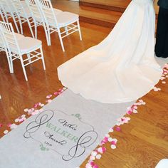 $110.00-$139.77 Give your ceremony a special touch with the Timeless Personalized Aisle Runner. Create your own personalized wedding runner with your names and wedding date printed in a color that matches your wedding theme. For color options see the Other Info tab. This wedding aisle runner features a crisp, white background. Comes complete with adhesive strip backing for placement. Built in ea ...