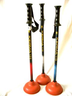 Three Kerma Ski Pole Toilet Plungers by SkiPolePlunger on Etsy