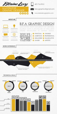 Infographic Resume by Blaine Levy, via Behance. I'm seeing a lot of these over-designed resumes lately. I think they're beautiful and an interesting way for someone with no work history to make themselves stand out.