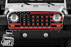 adf36632 JeepGrillz™ American Flag-Red, Wrap, Vinyl, Skin for Jeep Wrangler Grills