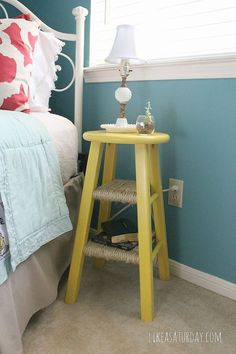 How to transform a bar stool into a compact end table with a fresh coat of paint and sisal rope wrapped around the stool rungs. From Rachel at likeasaturday.com