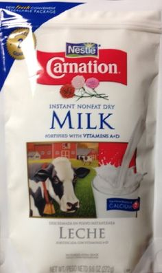 Carnation Instant Nonfat Dry Milk, 9.6oz pouch, 2-packs, by Nestle. Carnation Instant Nonfat Dry Milk is always ready when your recipe calls for milk: makes breads and muffins tender, adds flavor to sauces and soups, adds nutrition to fruit smoothies and protein shakes. Keep a couple pouches on hand for those times when you run out of milk and the stores are all closed!