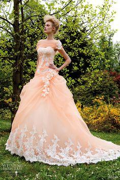 jillian 2015 wedding dress strapless sweetheart neckline corset bodice peach color gathered ball gown