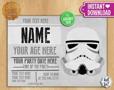 Star Wars Invitation EDITABLE TEXT by ColorPrintsShoppe on Etsy