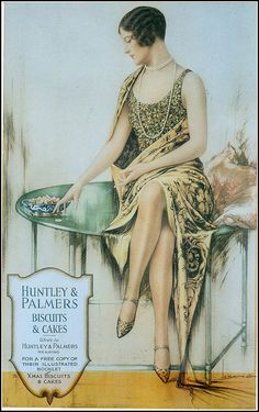 This is a great illustration of the fashion in the 1920's advertising biscuits for Huntley & Palmers.