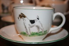 Morley Pottery hand painted Dulcie Vaughan. part tea set, Fox Terrier.