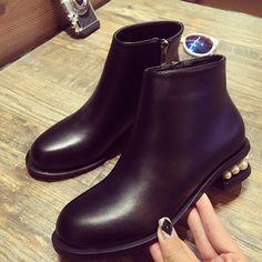 29.91$  Buy now - https://alitems.com/g/1e8d114494b01f4c715516525dc3e8/?i=5&ulp=https%3A%2F%2Fwww.aliexpress.com%2Fitem%2F2016-Autumn-Winter-New-Pearl-Thick-Heels-Round-Toe-Martin-boots-High-Heels-Platform-Ankle-Boots%2F32752474259.html - 2016 Autumn Winter New Pearl Thick Heels Round Toe  Martin boots High Heels Platform Ankle Boots For women  High Heel Boots