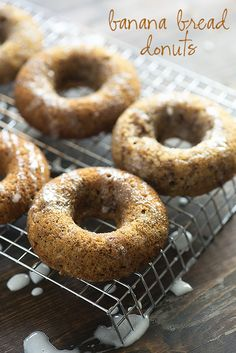 Banana Bread in donut form! These baked donuts are super easy and kids love them!