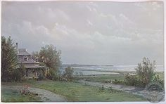 Untitled (view from Newport overlooking Easton Pond and Easton Point from the summer home of artist), William Trost Richards, ca. gouache on paper, x Newport Historical Society. Little Compton, Marble House, City By The Sea, The Age Of Innocence, Portsmouth, Historical Society, Rhode Island, Newport, New England