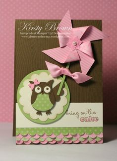 handmade birthday card ... sweet owl punch owl holding huge dimensional pinwheel ,,, chocolate, light green, vanilla and pink ... adorable!! ... Stampin' Up!