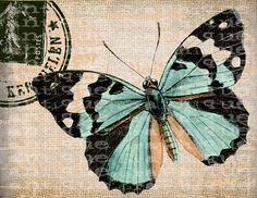 Antique French Butterfly Postmarks Digital Download for Tea Towels, Papercrafts, Transfer, Pillows, etc Burlap No 7257 COLOR. $2.00, via Etsy.