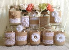 10x rustic burlap and white lace covered mason jar vases wedding decoration, bridal shower, engagement, anniversary party decor  I made this adorable vases with natural color burlap and white color laces, handmade burlap and lace flowers, plastic buttons, twin bows. PLEASE NOT: my some white laces out of stock but you will receive similar jar set.  jars size: 32 OZ 3.78 x 7.0 (Flowers NOT included)  After i receive payment, please EXPECT approximately 2 to 3 WEEKS for your item to be made…