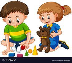 Boy and girl play toys vector image on VectorStock Student Clipart, Student Cartoon, Preschool Classroom Decor, Preschool Learning Activities, Spongebob Painting, Kids Schedule, Clip Art Pictures, Kids Education, Pre School