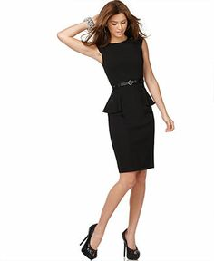 XOXO Dress, Cap Sleeve Solid Black Fitted Peplum Sheath - Juniors Suits & Suits Separates - Macy's