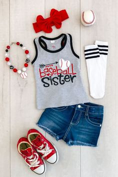 "Gray ""Baseball Sister"" Tank Top from Sparkle in Pink"