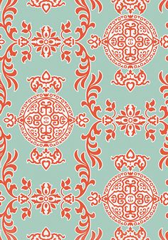Halie #wallpaper in #aqua and #coral  Halie is an exceptionally strong, multi-directional wallpaper with a matching fabric that makes quite the statement with large medallions and graphic appeal. #Thibaut