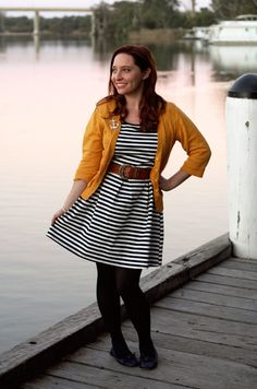 Her Library Adventures... striped dress with yellow cardigan and an anchor pin!