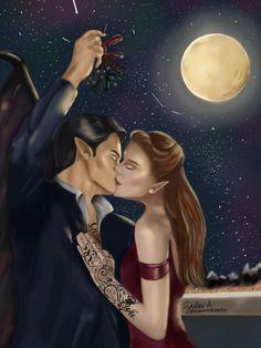 Feyre and Rhysand kissing under a mistletoe by Czarlene A. IG : Acourtoffeyreandrhys #feyre #rhysand #feysand #acomaf #kissing #mistletoe