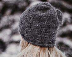 Crochet Hat Pattern Womens Hat Mens Hat How To Crochet | Etsy Slouchy Beanie Pattern, Knit Headband Pattern, Easy Knitting Patterns, Stitch Patterns, Crochet Patterns, Motifs Beanie, Knitted Hats, Crochet Hats, Crochet Flower