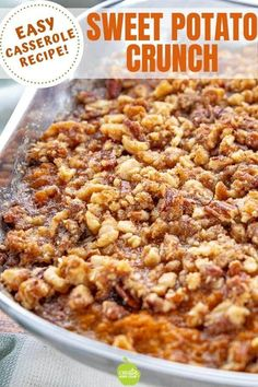 Sweet Potato Crunch Casserole is a traditional midwest recipe. This easy Sweet p.Sweet Potato Crunch Casserole is a traditional midwest recipe. This easy Sweet potato casserole uses canned yams or canned sweet potatoes and pecans. Canned Sweet Potato Recipes, Canned Sweet Potato Casserole, Sweet Potato Crunch, Canning Sweet Potatoes, Yam Or Sweet Potato, Sweet Potato Souffle, Mashed Sweet Potatoes, Yam Casserole, Canned Sweet Potato Pie Recipe