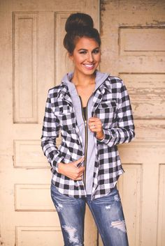 Dottie Couture Boutique - Hooded Plaid Top- Black, $32.00 (http://www.dottiecouture.com/hooded-plaid-top-black/)