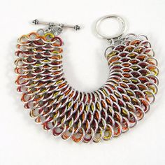 Dragonscale Chainmail Bracelet Cuff Fall Fire by HCJewelrybyRose, $40.00