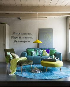 Teal and Lime Green Living Room. 20 Teal and Lime Green Living Room. Dark Teal Walls Accented by Chartreuse Aqua and White Home Living Room, Living Room Decor, Living Spaces, Blue And Green Living Room, Blue Green, Green Shades, Green Cream, Turbulence Deco, Interiores Design