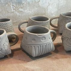 Slab built mugs - Lynn Wood (@potterytexturequeen) on Instagram