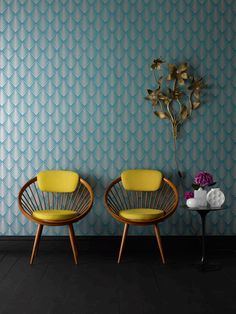 Graham and Brown wallpaper in teal.