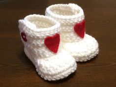 Handmade crochet white boots shoes booties for by Hooked4Babies