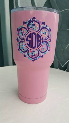 This Decal is about 3-3.5 - to fit on both 20Oz and 30 oz Yeti cups. Personalizing your Yeti cup or Tumbler is a great investment. Never wonder who is using your cup!!! Identify your cup easily while showing off your personality! The vinyl decals add a great touch to your tumblers, computer cases, cars, etc. You can select two colors for the decal.  Decals are made from a premium quality Oracal vinyl. It is made to last. The oracal is a waterproof, permanent style vinyl. It can be removed if…