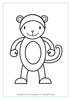 Monkey Colouring Page 3 Chinese New YearColouring