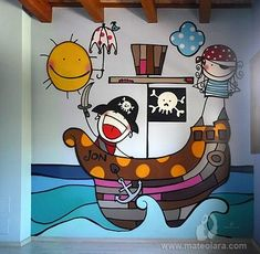2011 Copyright [Espray y posca] Room Wall Painting, Kids Room Paint, House Painting, Mural Art, Wall Murals, Wall Art, Painting For Kids, Art For Kids, Playroom Mural