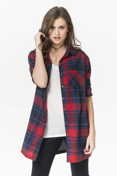 Navy & red plaid long flannel shirt