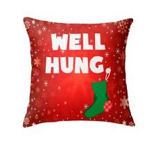 Well Hung Red Throw Pillow