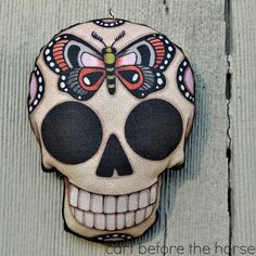 Butterfly Sugar Skull Tattoo Flash Day of by CartBeforeTheHorse, $12.00