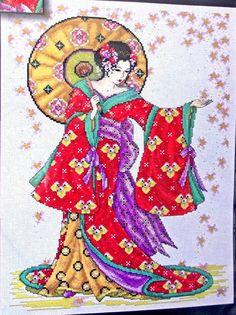 Oriental Japanese GEISHA with Umbrella by StitcheryDickeryDoc, $45.00