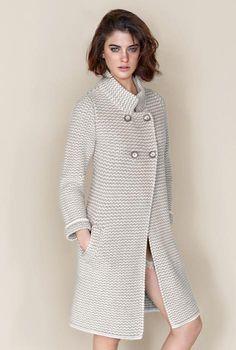 Two-coloured wool cashmere coat Falconeri