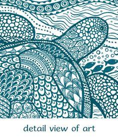 Sea Turtle Art Print Zentangle Giclee Teal by VNowellCreations