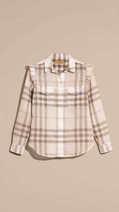 Frill Detail Check Cotton Shirt Natural White | Burberry