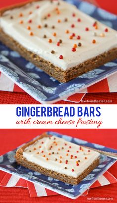 Easy gingerbread bars with cream cheese frosting.delicious, moist, chewy, perfect for the holidays. Cookie Desserts, Just Desserts, Cookie Recipes, Delicious Desserts, Dessert Recipes, Bar Recipes, Sweet Recipes, Holiday Treats, Holiday Recipes