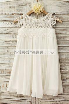 Boho Beach Lace Cap Sleeves Ivory Chiffon Flower Girl Dress
