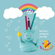 my toothie duck, die lustigen Enten für Zahnbürsten, Stifte, Kosmetikpinsel und mehr ...   Die Liberty-Ente für alle Freigeister und Großstadt-Amazonen.